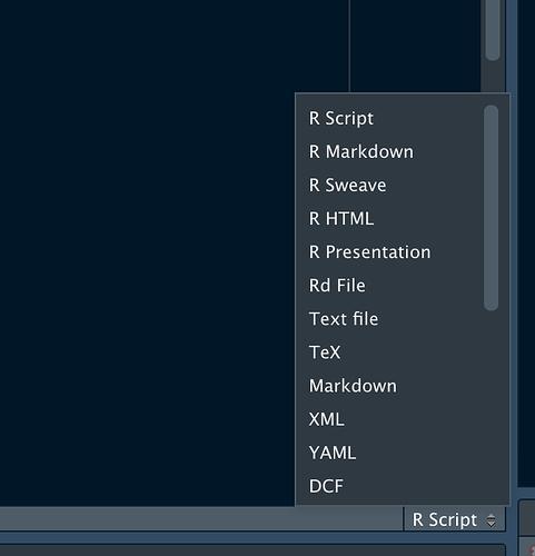 filetype chooser in RStudio IDE Source Pane