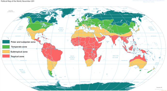 Climate zone world map